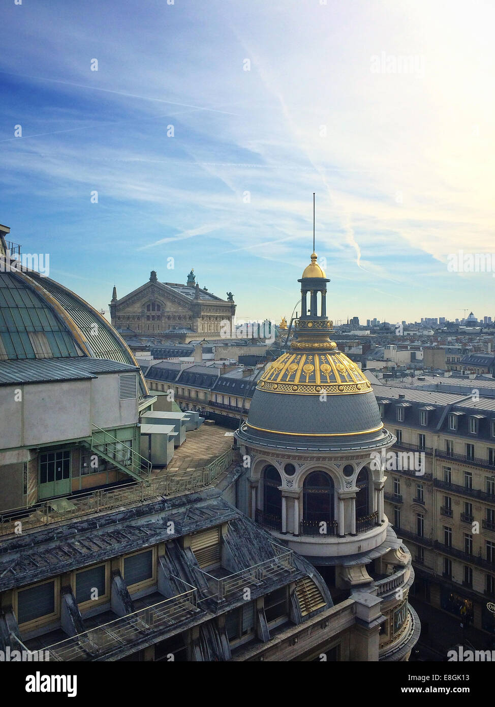 France, Paris, Rooftopping des Galeries Lafayette Photo Stock
