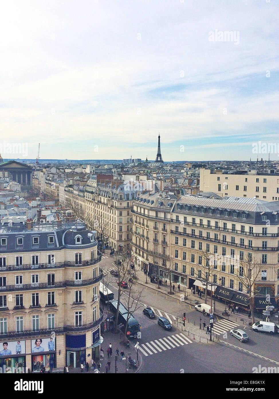 France, Paris, vue de la ville depuis le toit galeris lafayette Photo Stock