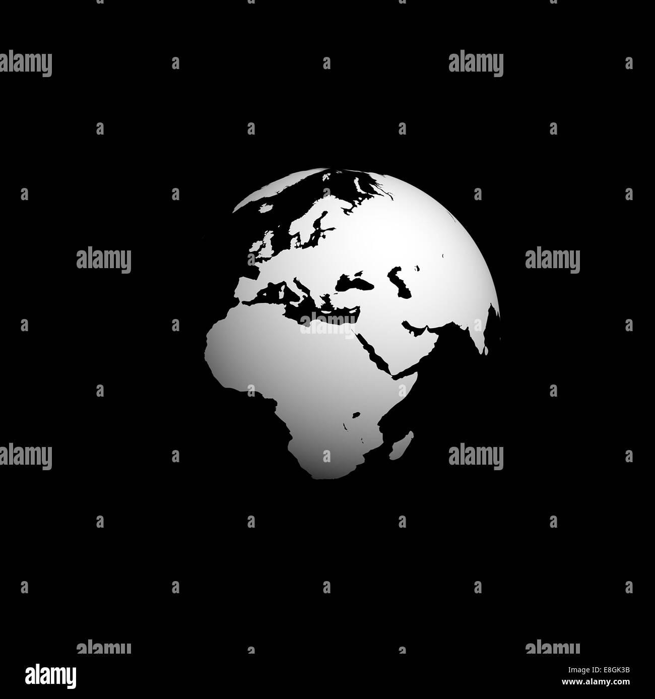 Image générée numériquement de la planète terre, noir et blanc globe Photo Stock
