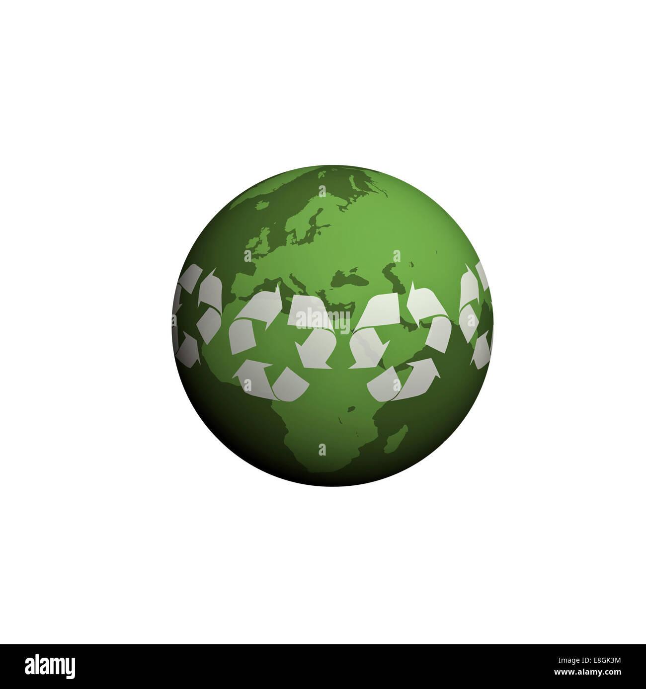 Image générée numériquement de la planète terre, Green World Photo Stock