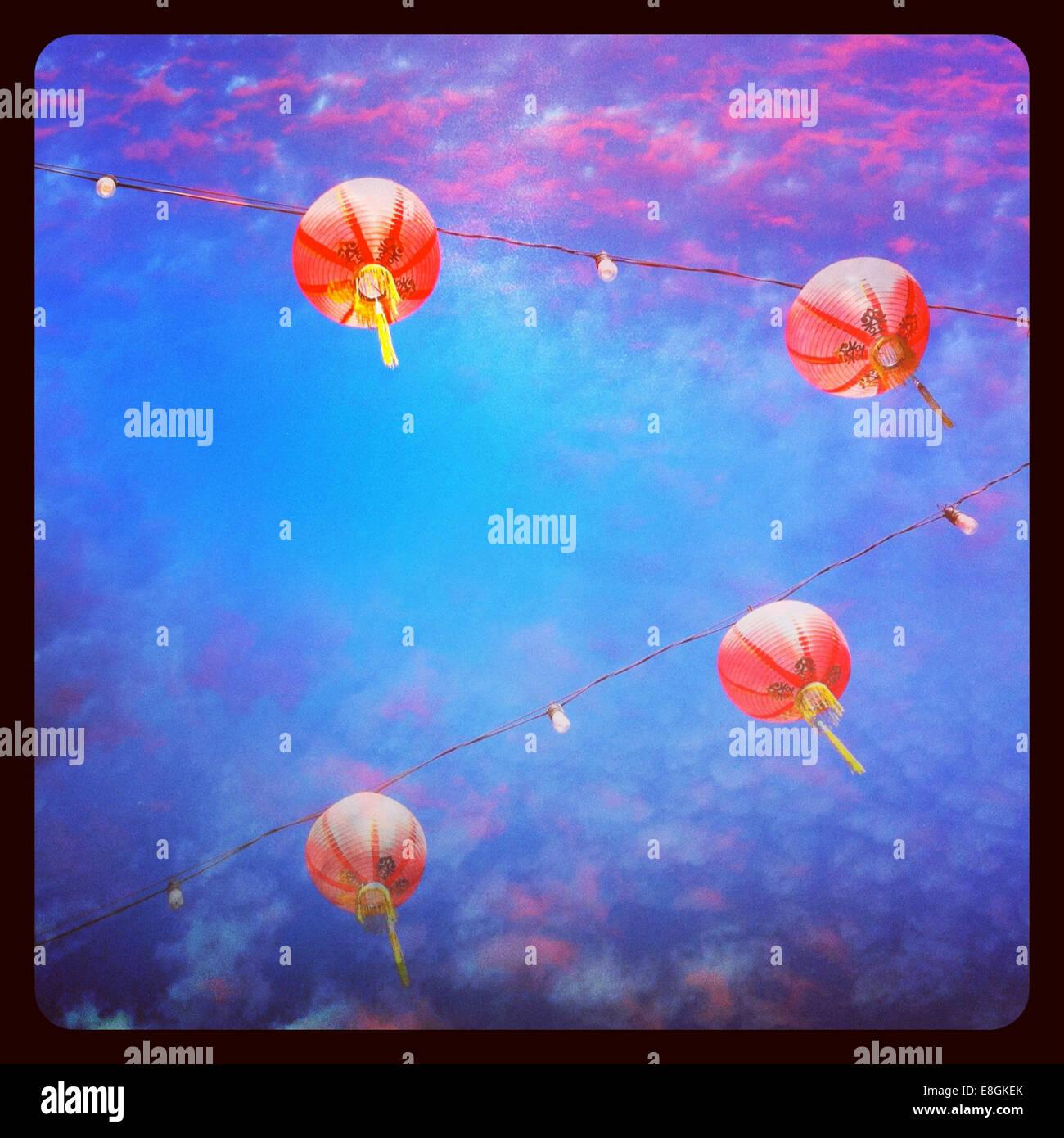 USA, Californie, Los Angeles, lanternes dans le quartier chinois Photo Stock