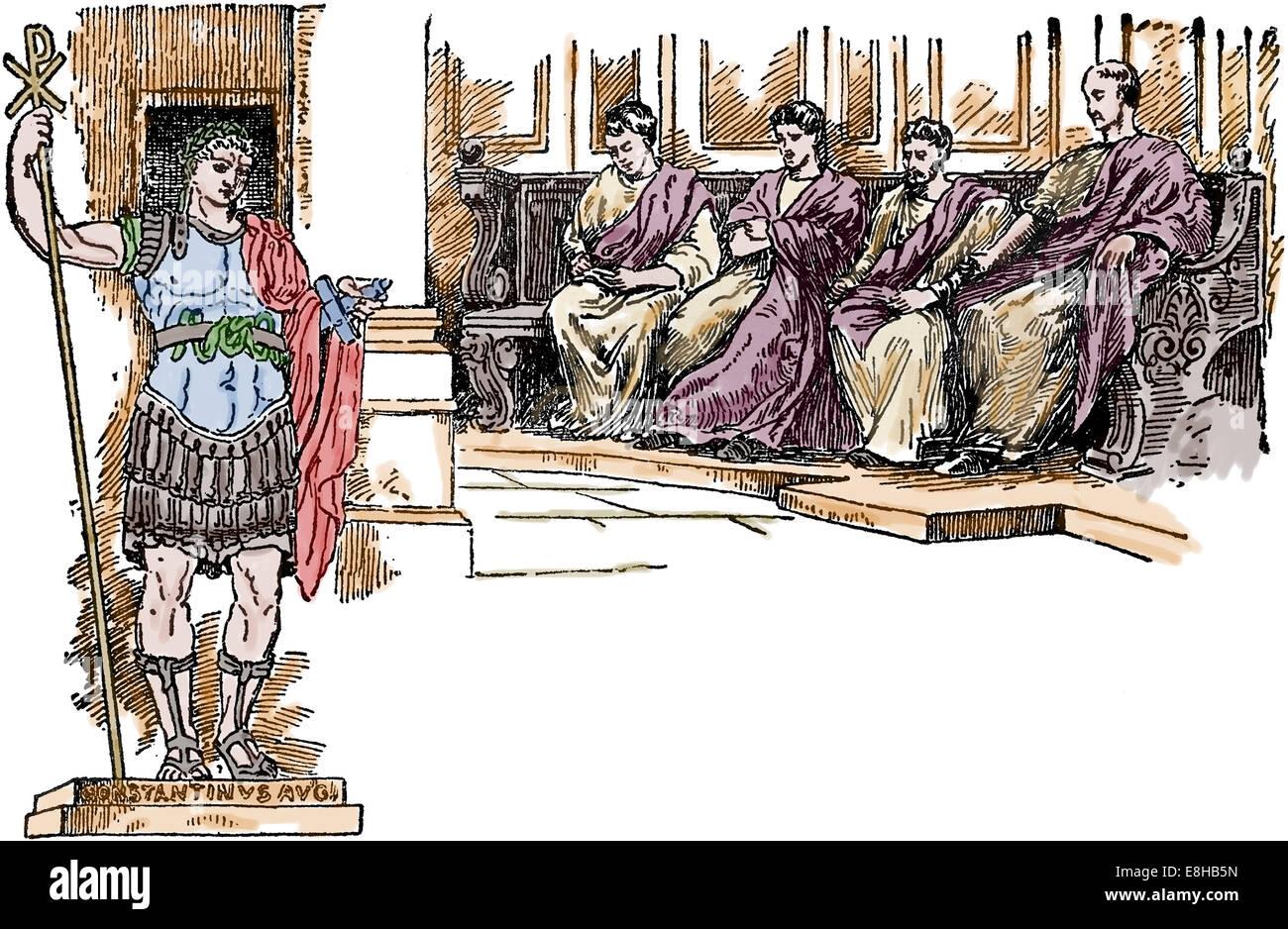 L'Est de l'Empire romain. La cour byzantine. Le progrès du monde. 1913. La gravure. Plus tard la couleur. Photo Stock