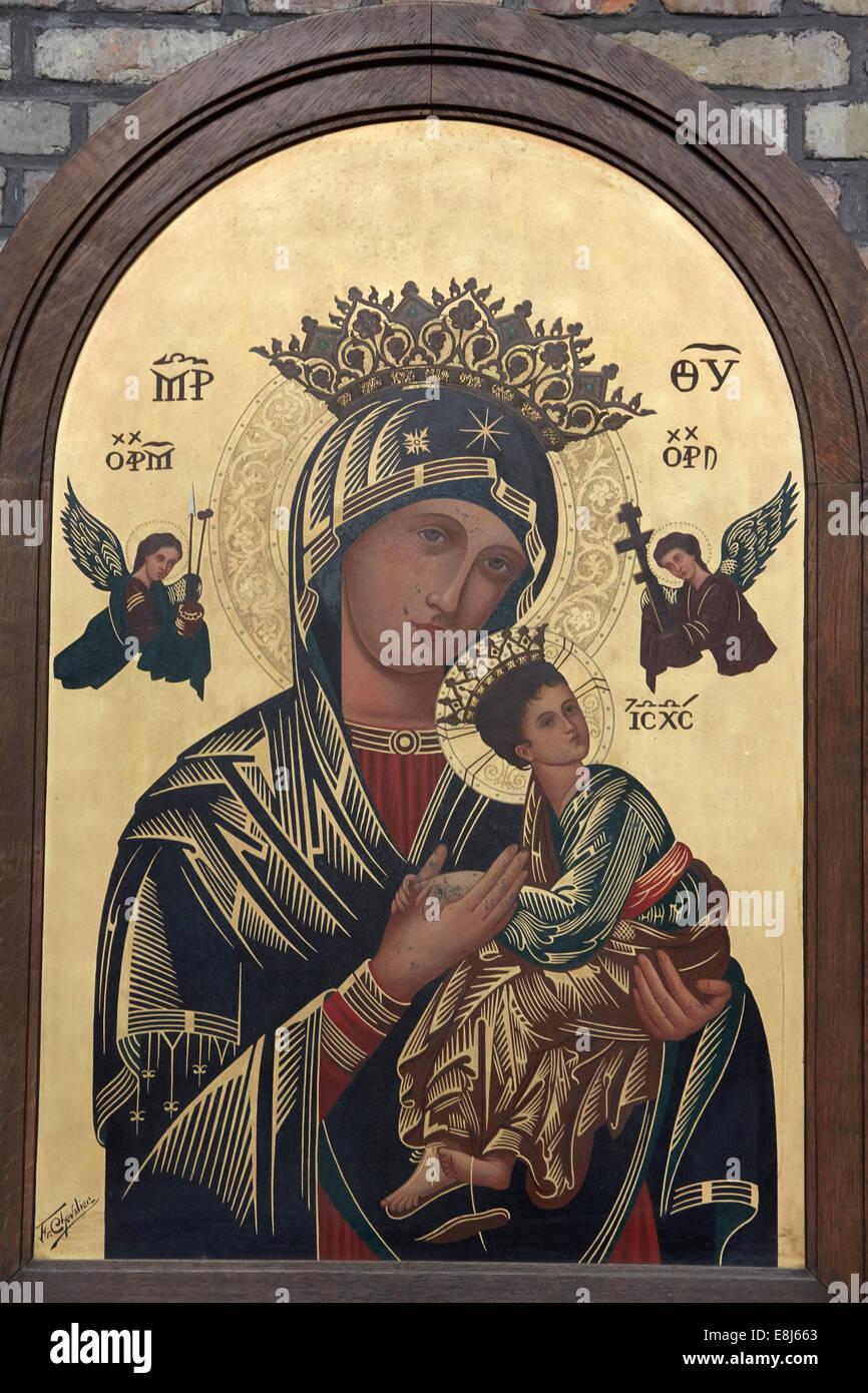 L'icône de la Vierge et l'enfant Photo Stock
