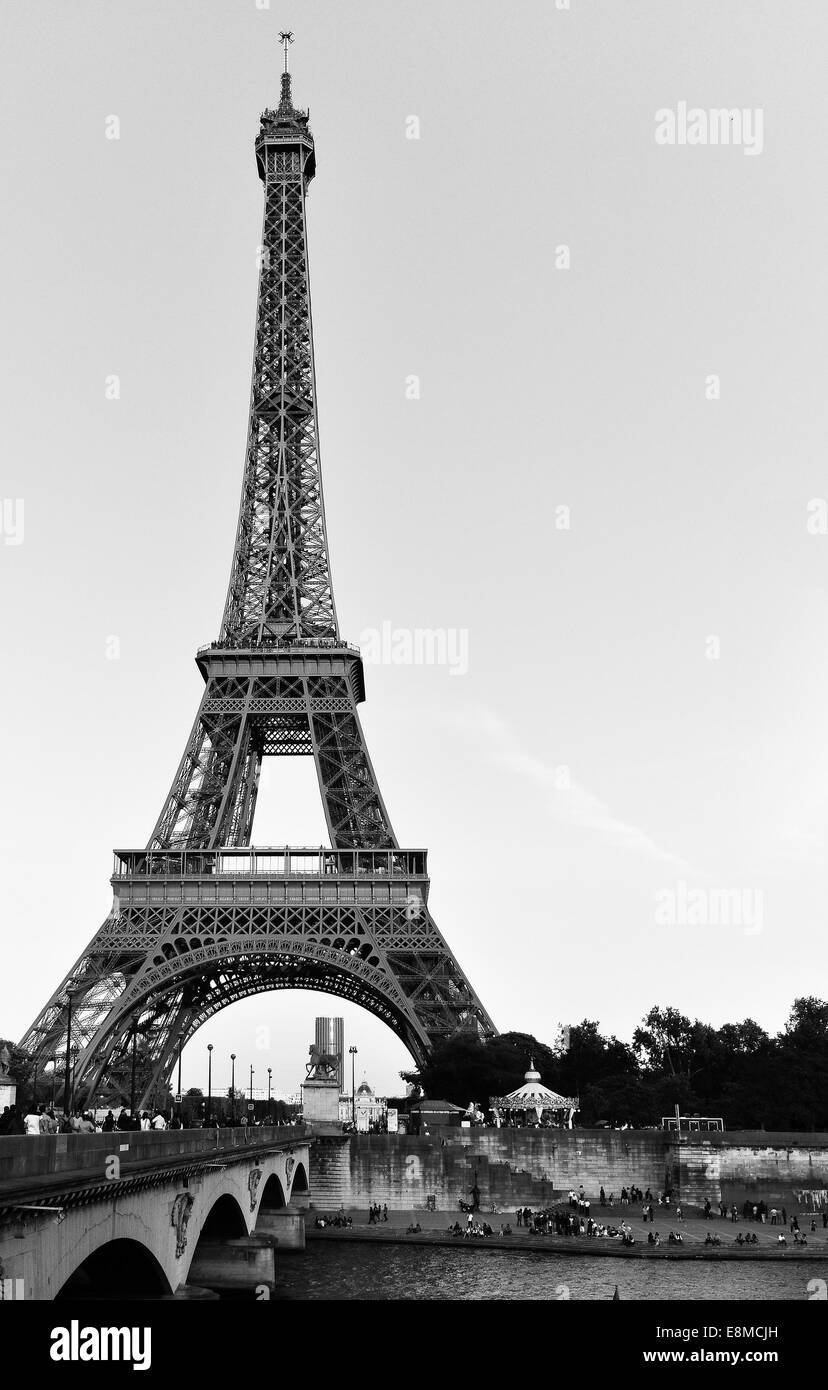 Eiffel noir Photo Stock