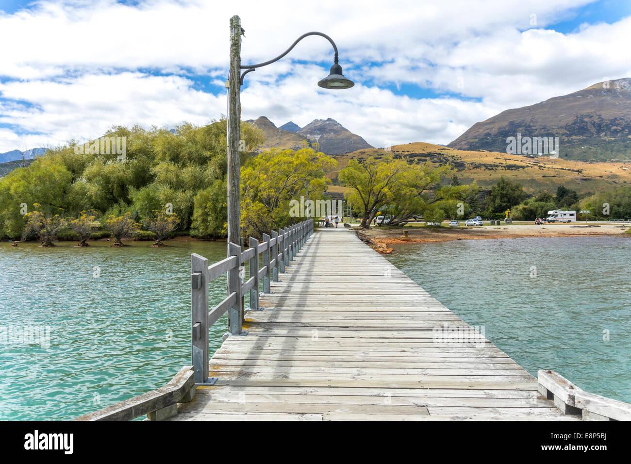 Jetée Jetée quai à Glenorchy sur le Lac Wakatipu Nouvelle-zélande Photo Stock