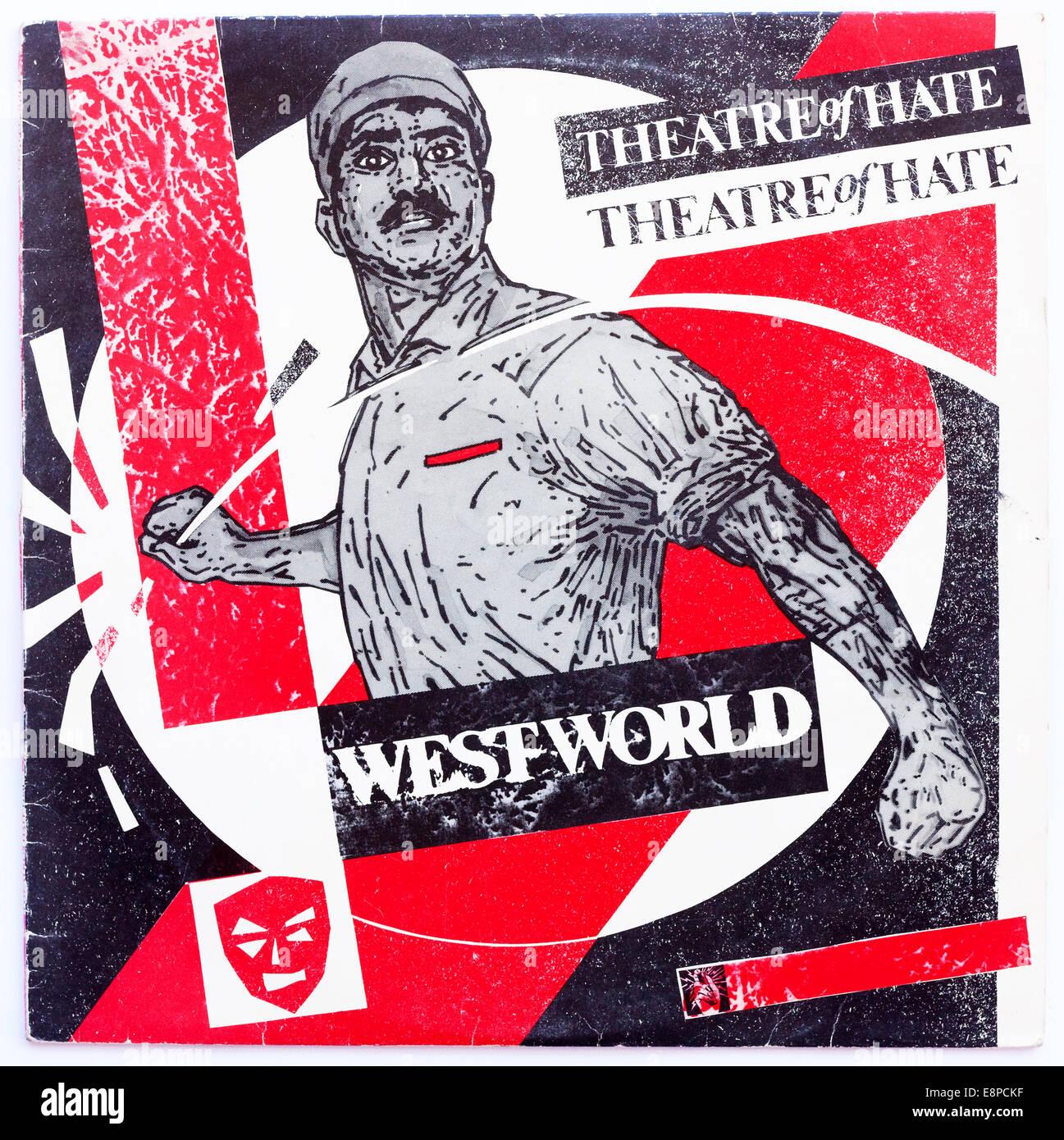 L'art de couverture pour le théâtre de la haine - westworld, 1982 album vinyle sur burning rome records Photo Stock