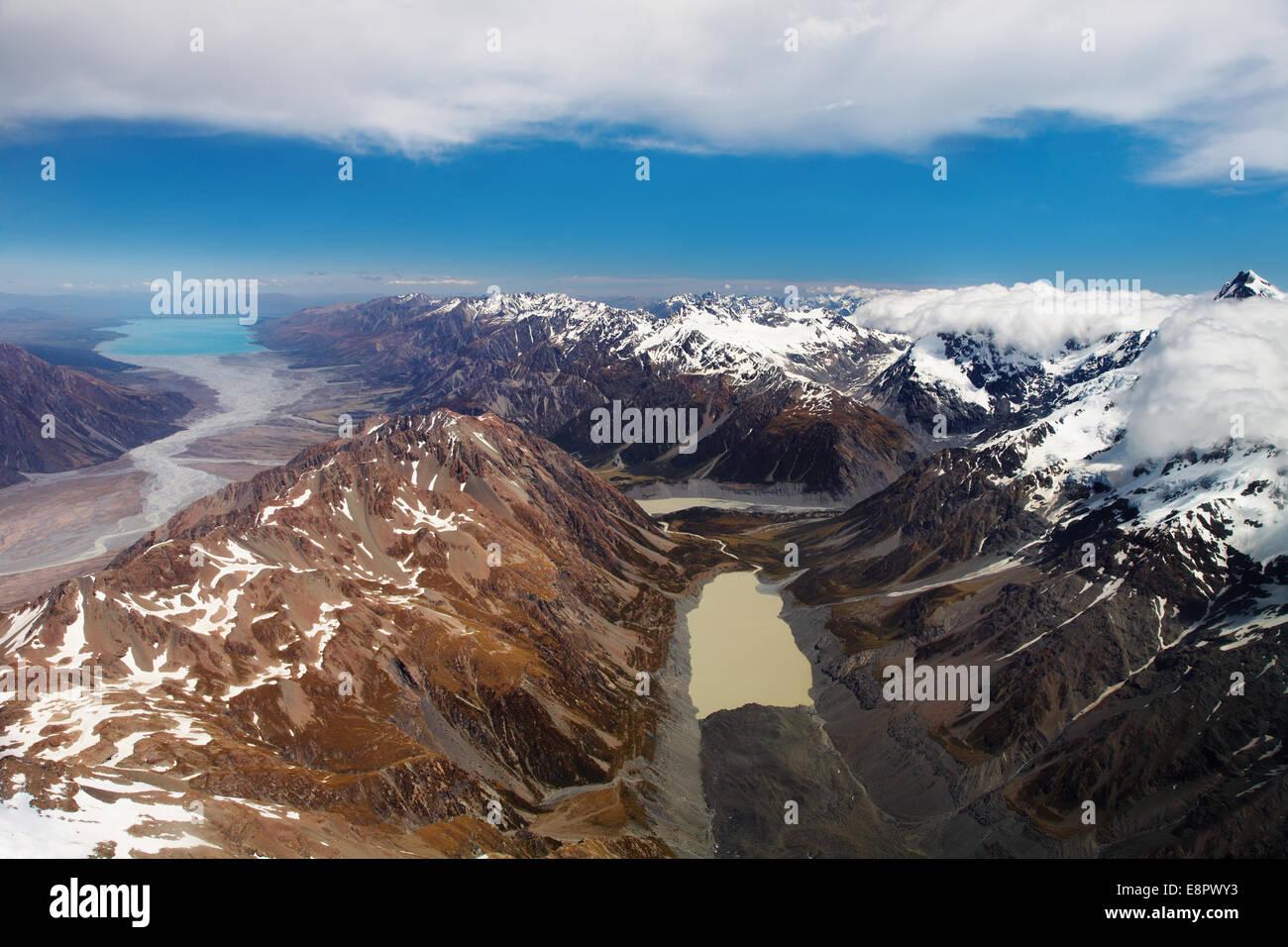 Alpes du Sud, Nouvelle-Zélande, vue aérienne Photo Stock