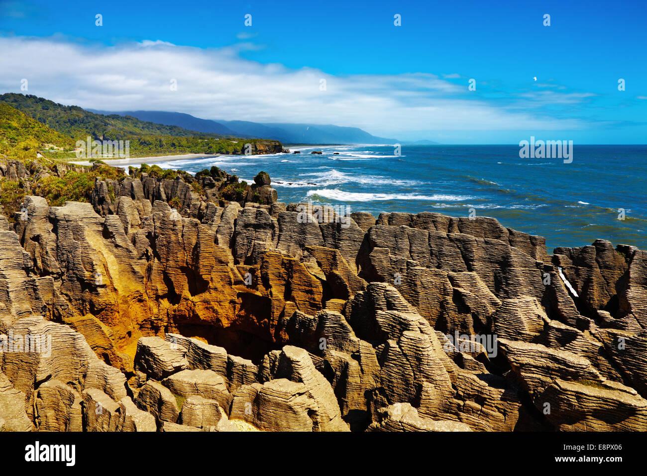 Crêpe Punakaiki Rocks, West Coast, Nouvelle-Zélande Photo Stock
