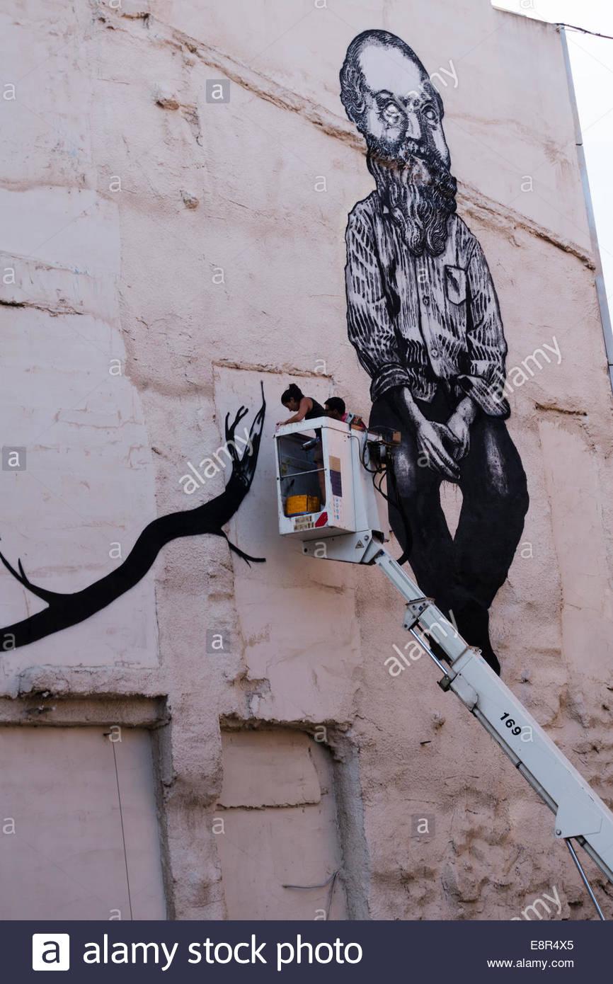 Détail, graffiti dans la rue, Perpignan, France. Photo Stock