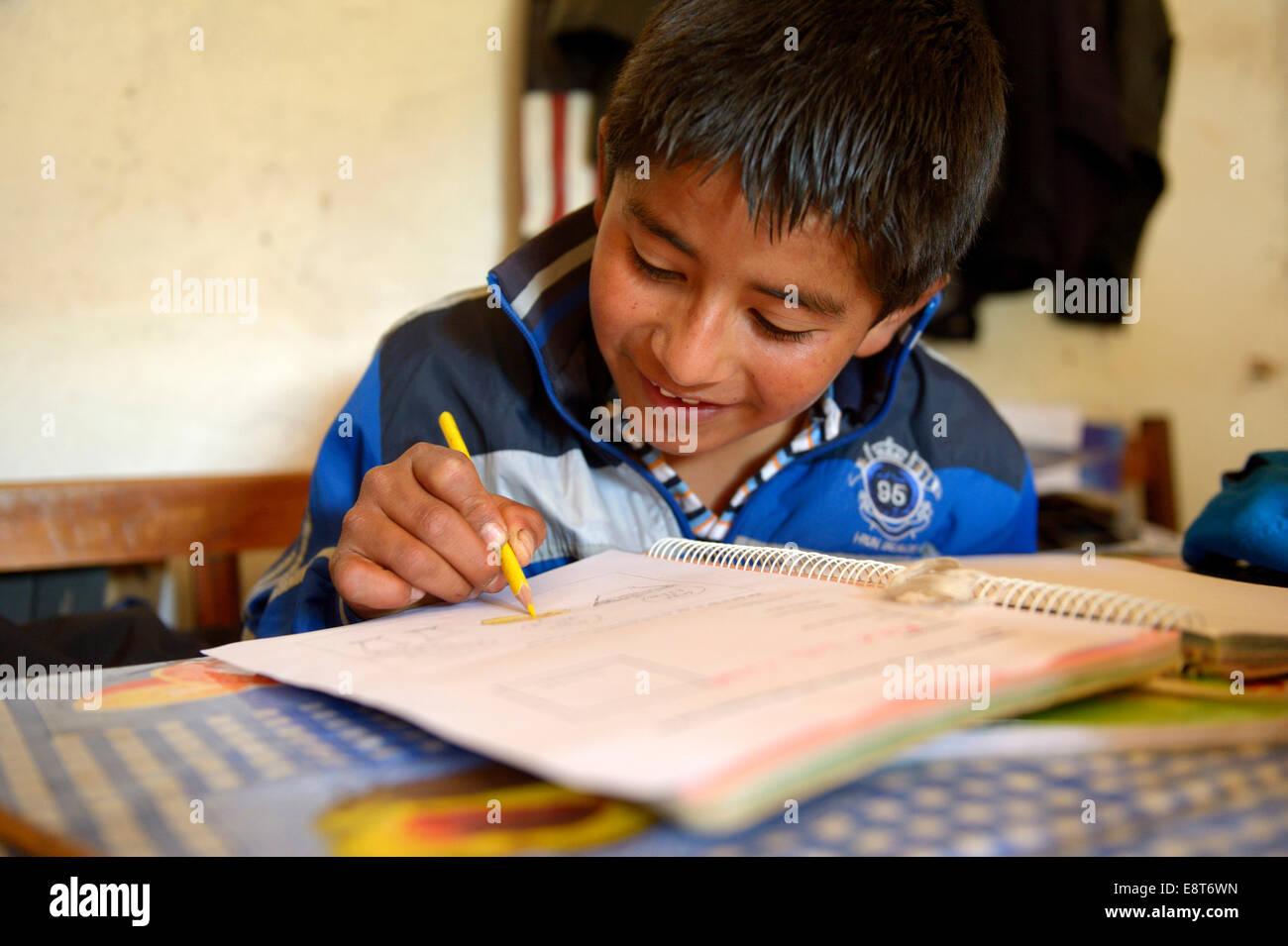 Garçon, 13 ans, fait ses devoirs, Quivilla, Huanuco, Pérou Province Photo Stock