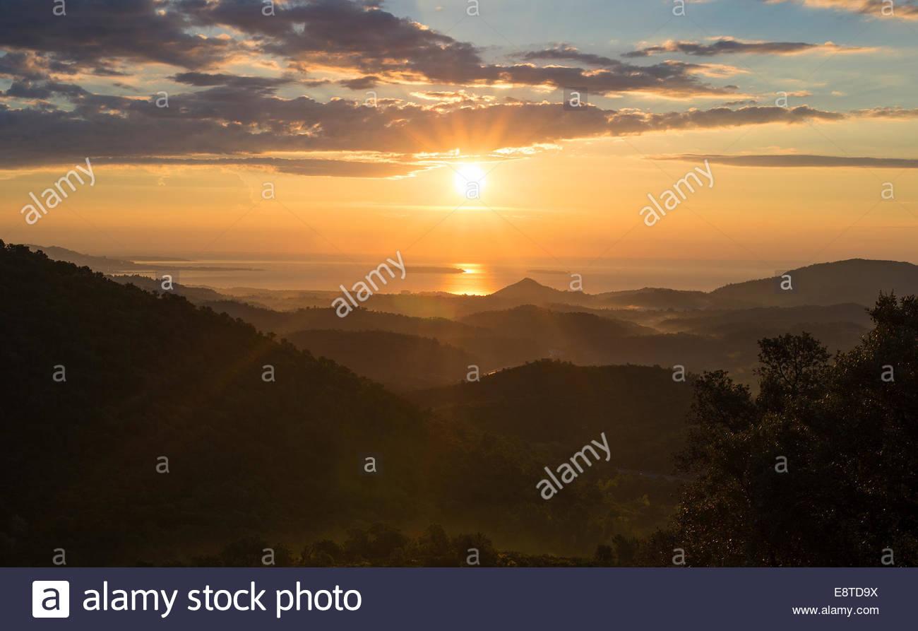 Lever du soleil sur la cote du azur Photo Stock