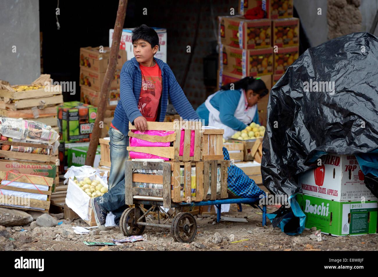 Le travail des enfants, garçon, 13 ans, travaille comme porteur dans un marché, d'Ayacucho, région Photo Stock