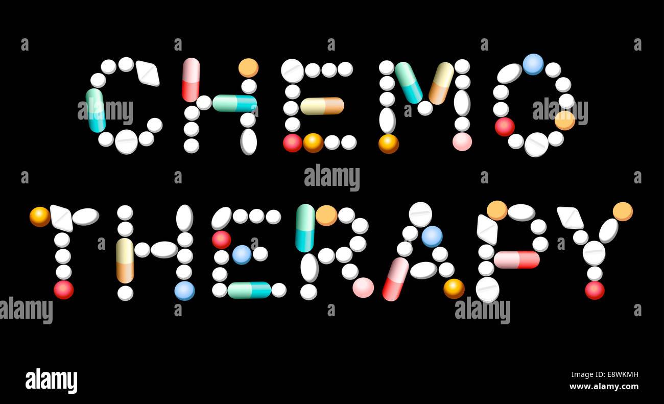 La chimiothérapie écrit avec des comprimés, comprimés et gélules. Banque D'Images