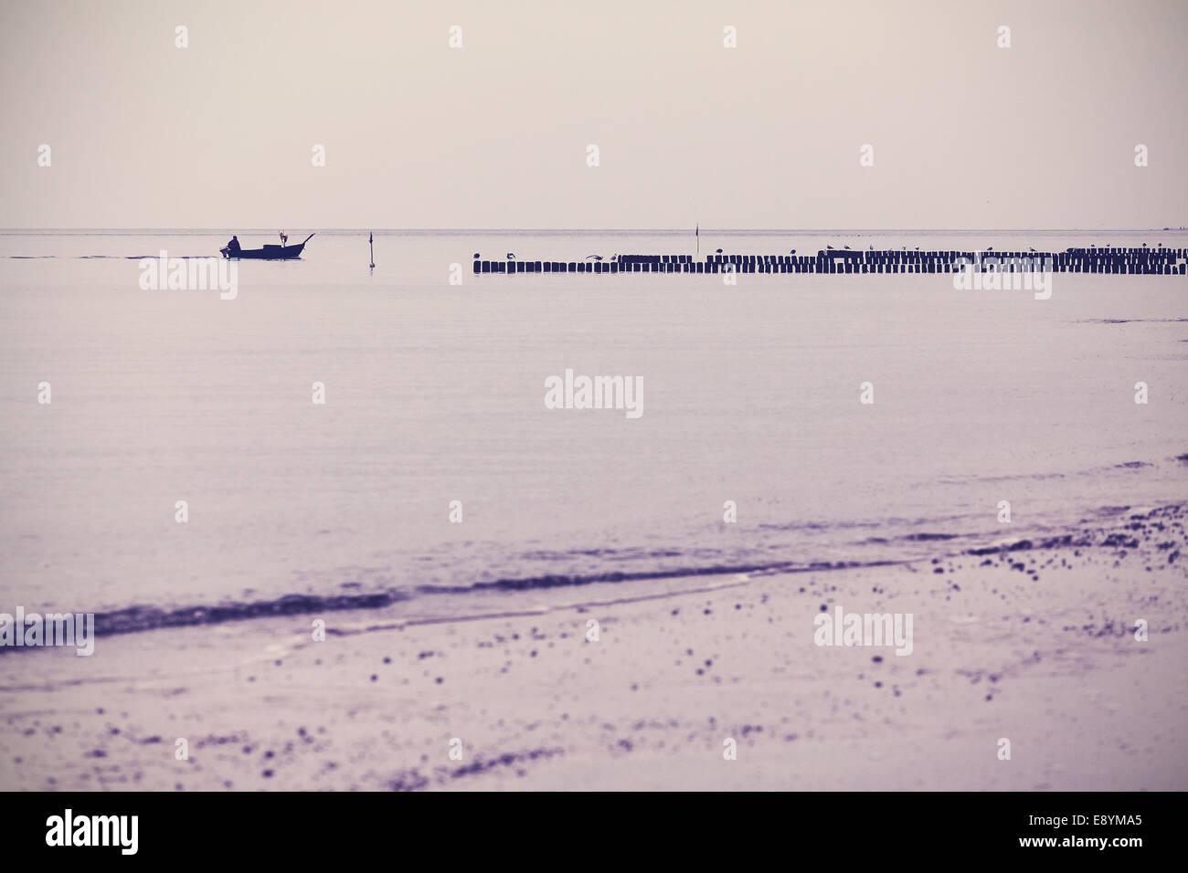 Paysage de mer filtrée rétro nostalgique arrière-plan. Photo Stock