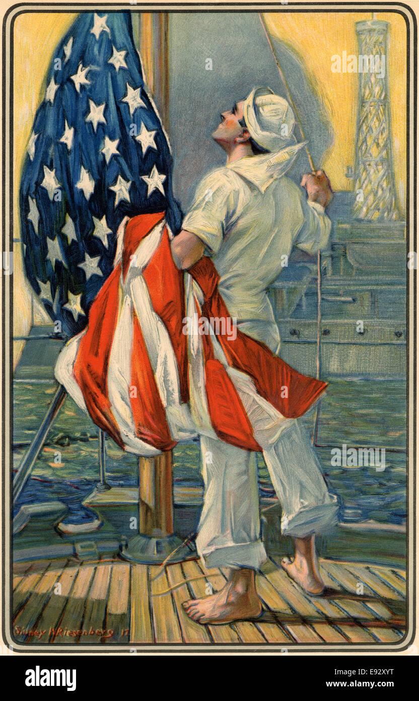 Sensibilisation marin drapeau américain sur le navire, peinture, 1917 Banque D'Images
