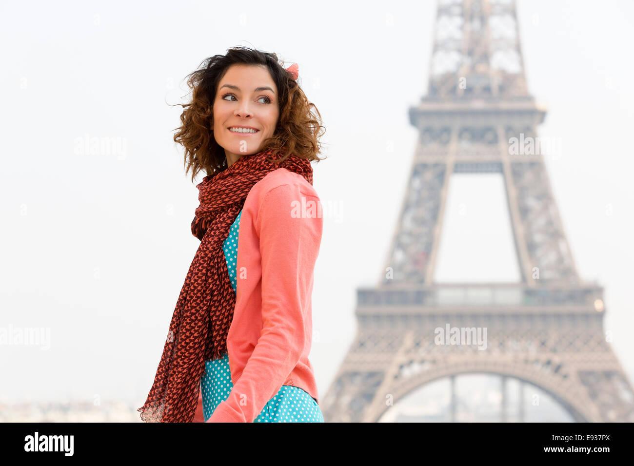 Portrait de femme à Paris Photo Stock