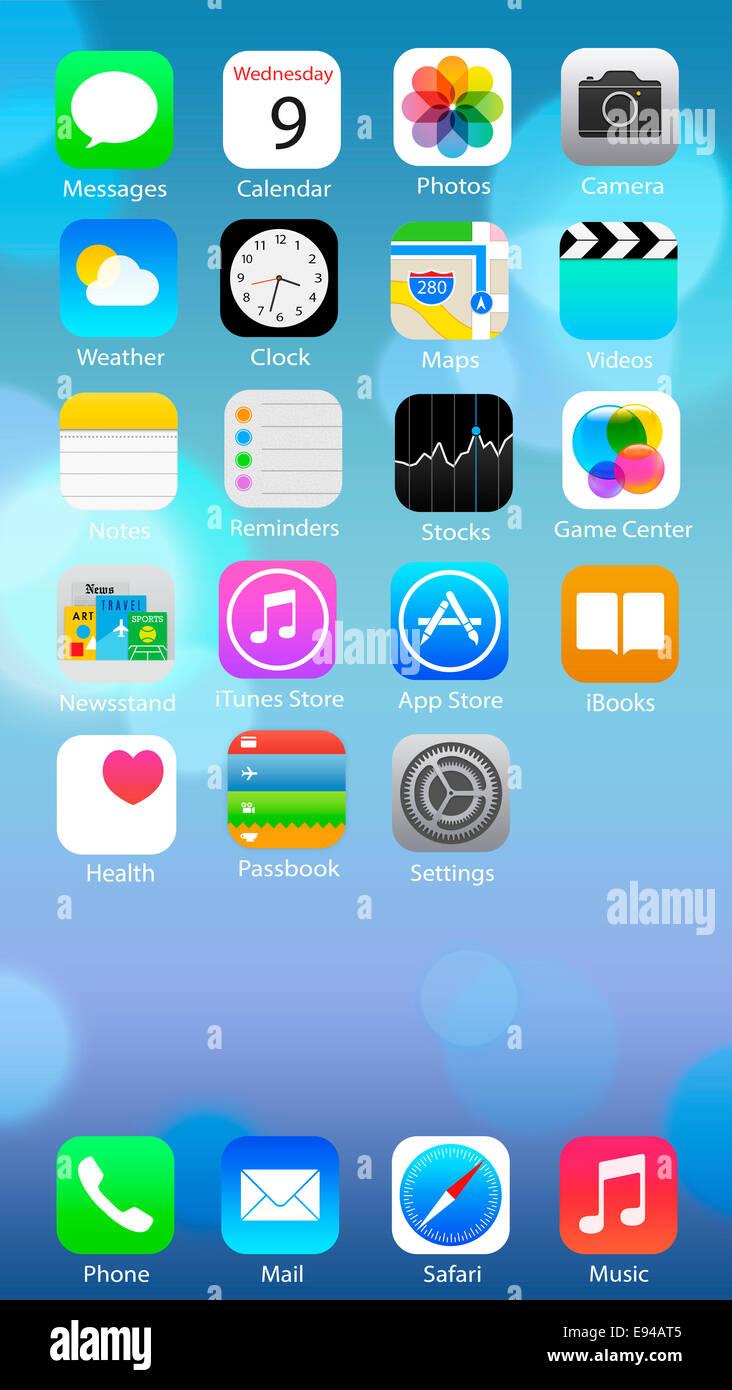 Iphone6 Smartphone apps, ios8, l'écran d'accueil des créations numériques. Photo Stock