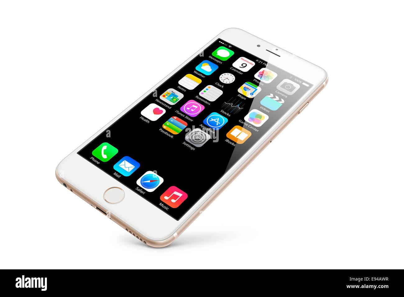 Généré numériquement image de téléphone de cellules, nouvel iphone 6 en or avec les Photo Stock