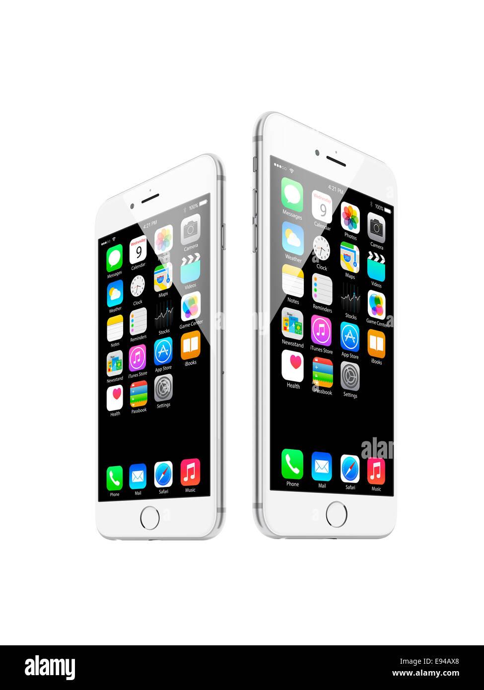 Iphone 6 et iphone 6 plus d'argent, avec des applications, des créations numériques. Photo Stock