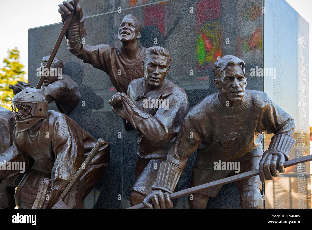 Statue de joueurs des Blackhawks de Chicago Photo Stock