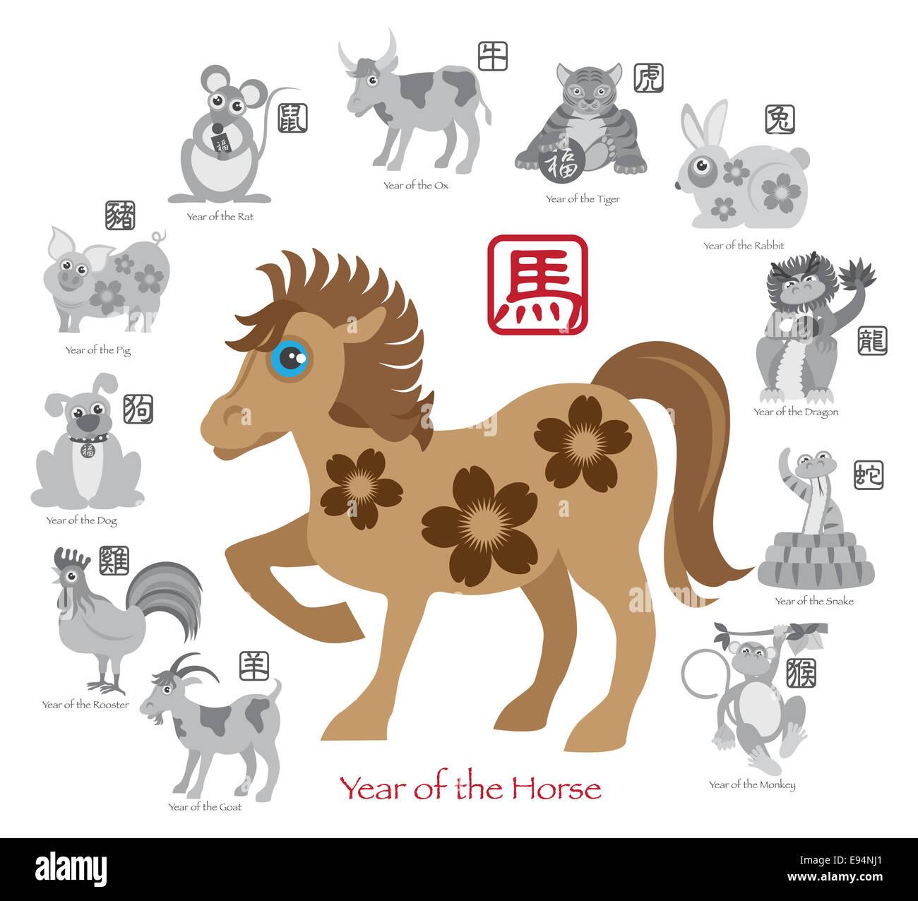 Le Nouvel An chinois du cheval couleur avec douze zodiaques chinois avec joint en texte gris cercle Illustration Photo Stock