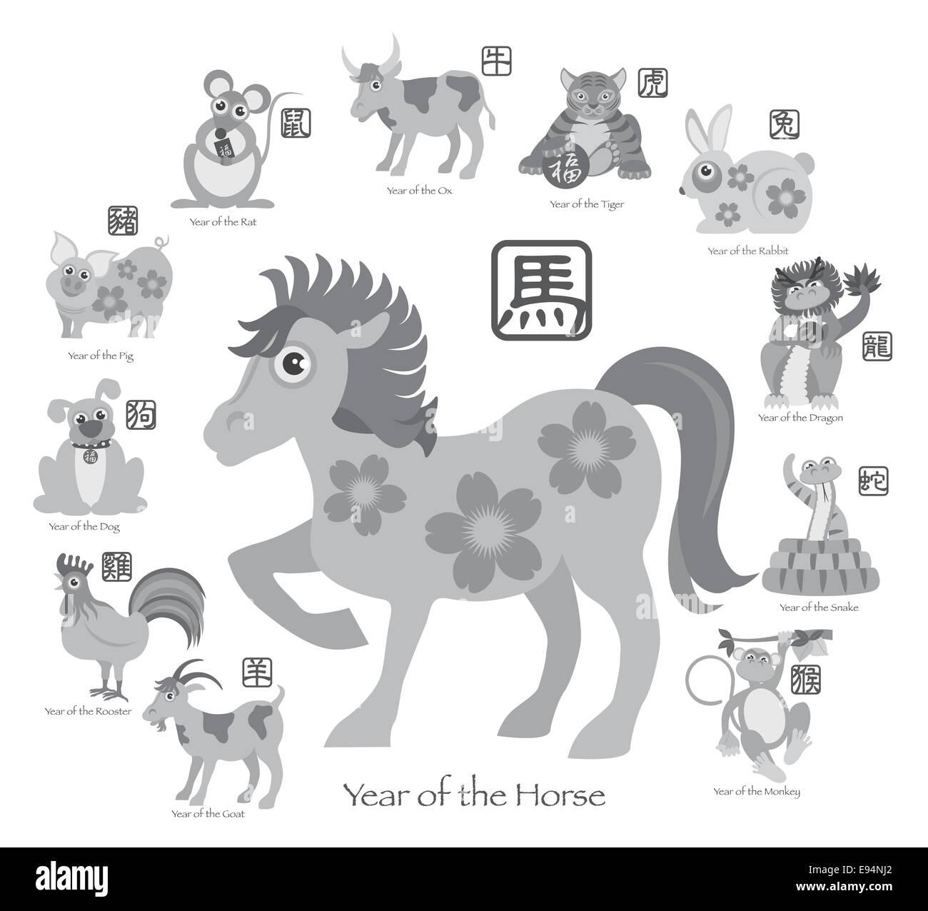 Le Nouvel An chinois du Cheval 2014 avec douze zodiaques chinois avec joint en texte gris cercle Illustration Photo Stock