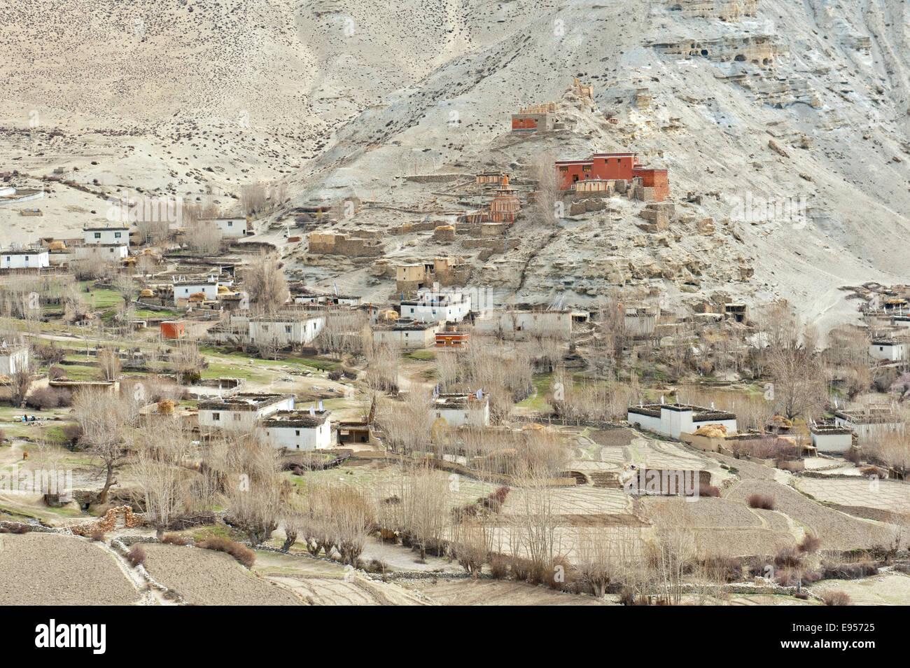Le village de Geling avec les Tashi Chöling Gompa, les champs à l'avant, Gieling, Upper Mustang, Lo, Photo Stock