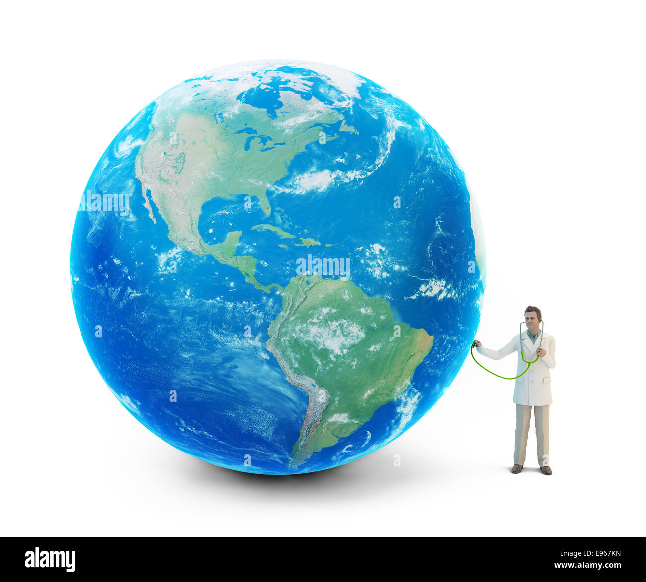 Petit doctor examining the Earth Banque D'Images