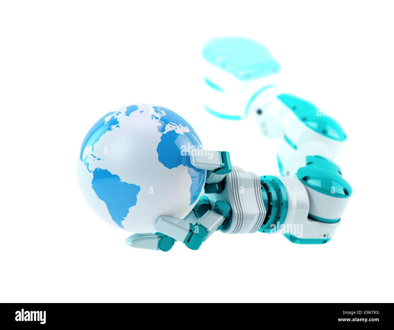 Un robot industriel tenant un petit globe Banque D'Images