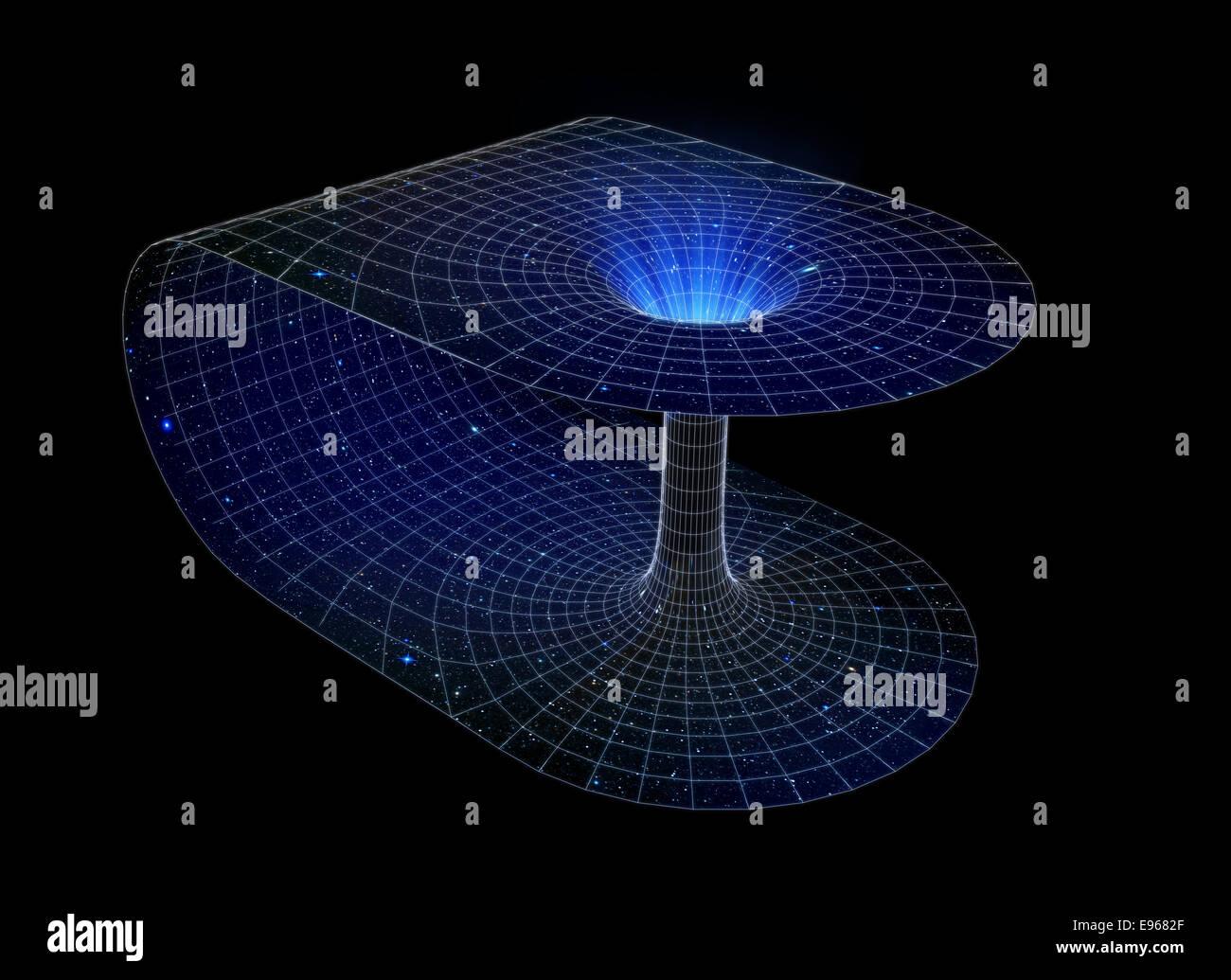 La représentation 3D d'un wormhole Banque D'Images