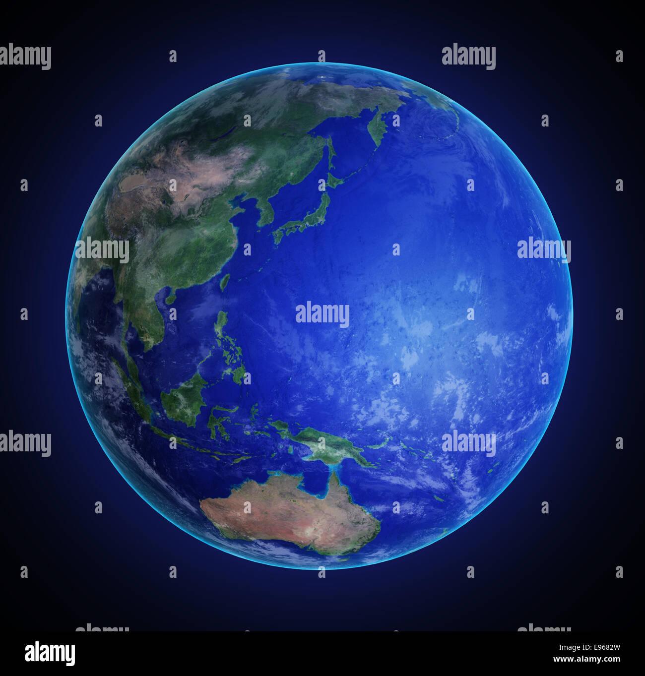 L'Asie orientale et l'océan Pacifique vu de l'espace Banque D'Images