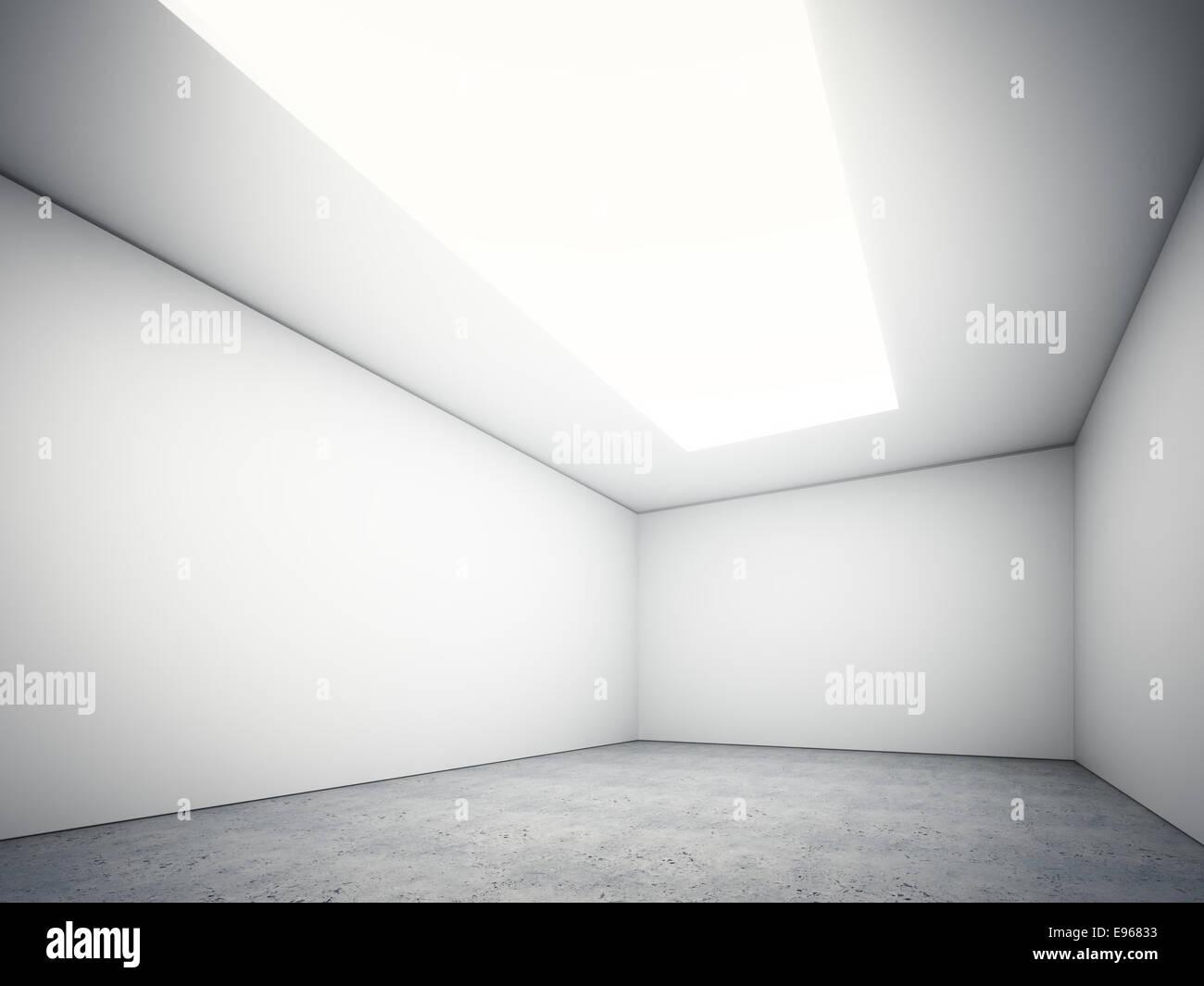 Grande salle vide avec un haut plafond et un sol en béton léger Banque D'Images