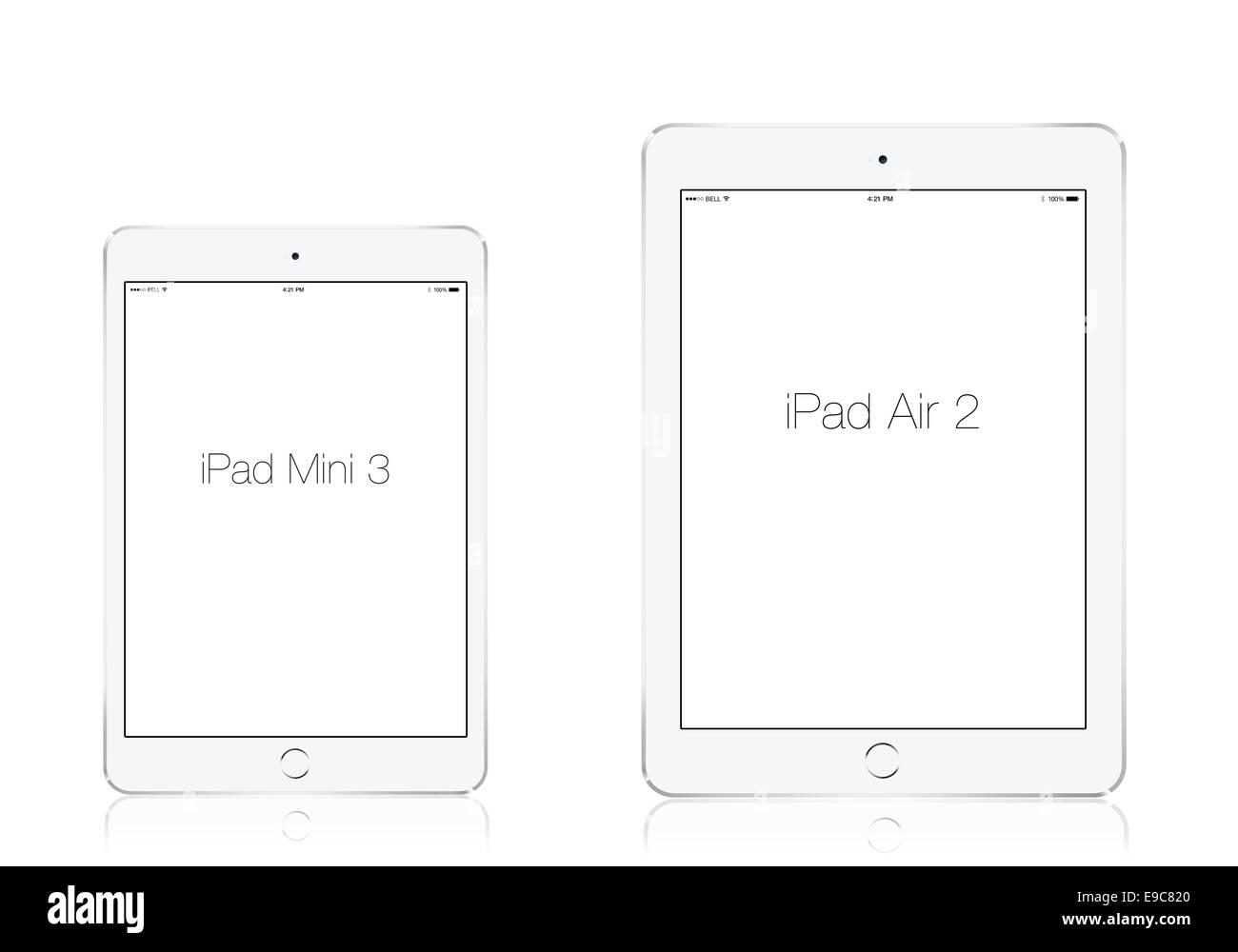 Tablettes iPad mini 3 et l'iPad air 2 l'argent, des créations numériques. Photo Stock