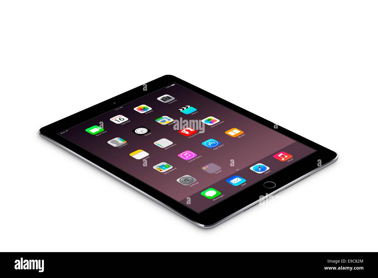 L'ipad air comprimé 2 gris de l'espace avec des applications, des créations numériques. Photo Stock
