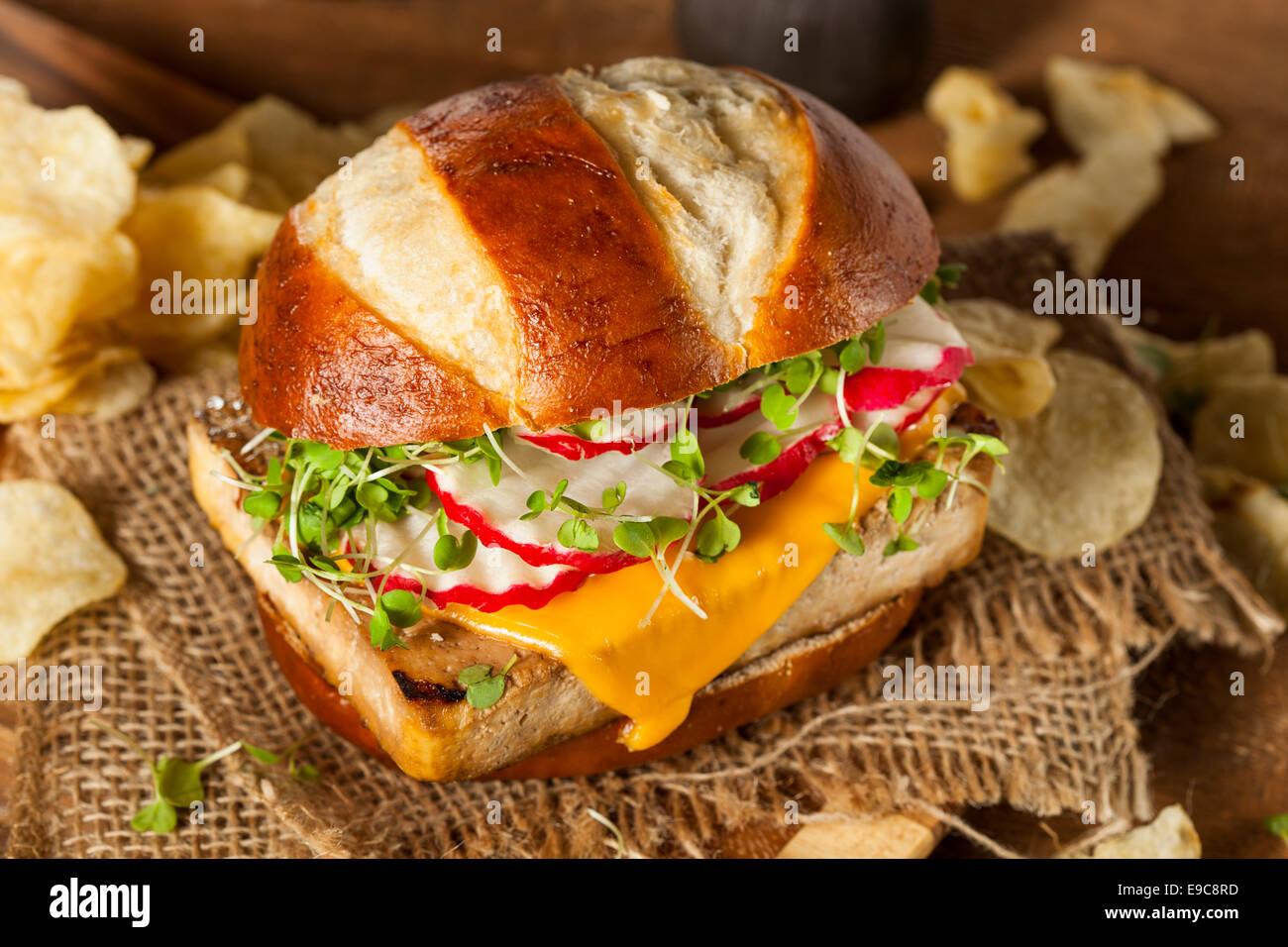 Burger au tofu Soy végétarien fait maison avec des frites Photo Stock