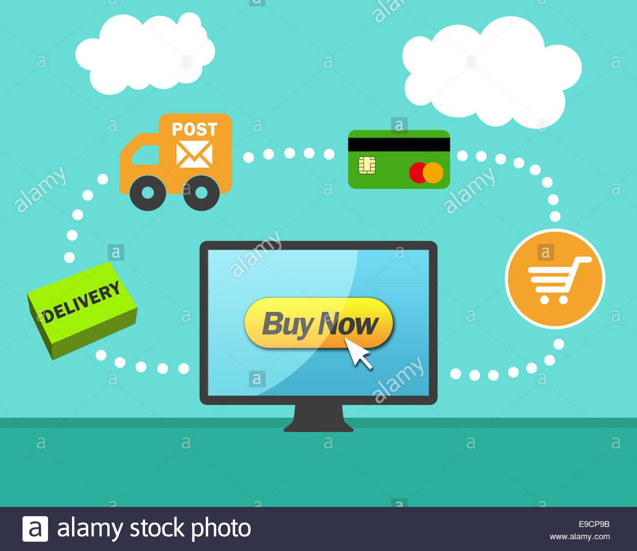 Concept de commande d'achat en ligne Photo Stock