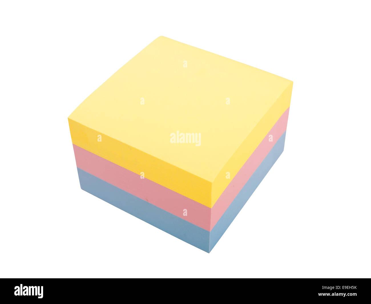 Trois couleur bloc de post it Banque D'Images