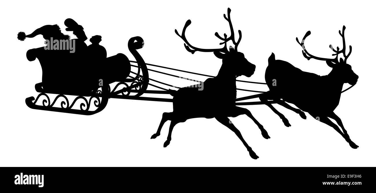 santa sleigh silhouette de forme p re no l dans son tra neau et ses rennes banque d 39 images. Black Bedroom Furniture Sets. Home Design Ideas