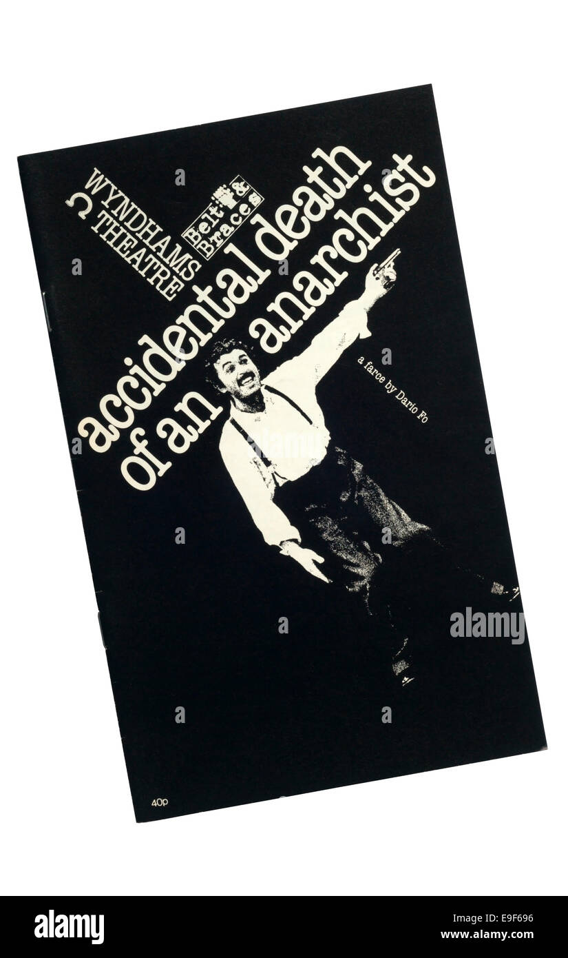 Programme de la ceinture 1980 Accolades & production de la mort accidentelle d'un anarchiste de Dario Fo Photo Stock