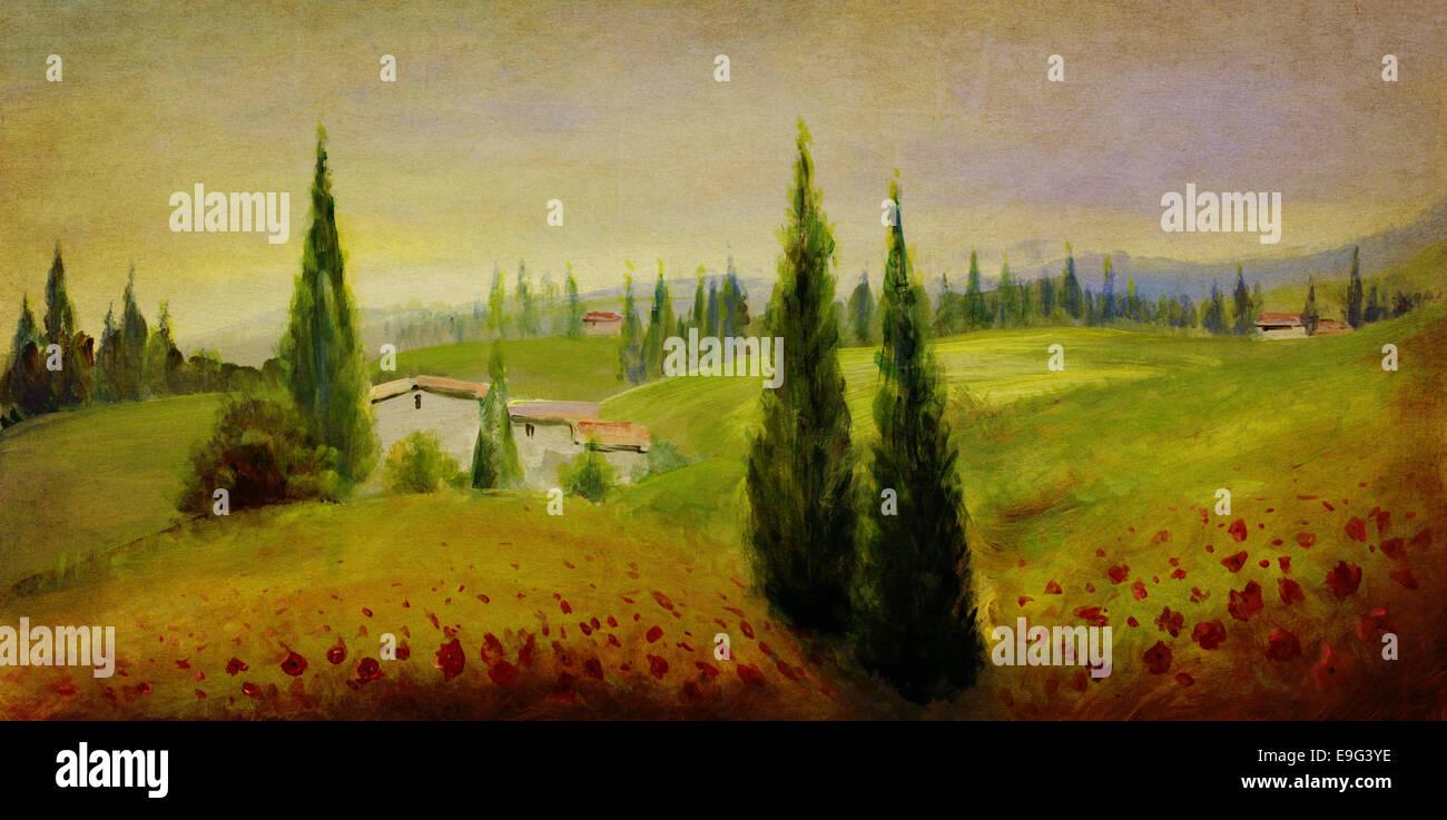 Ancienne peinture de paysage Photo Stock