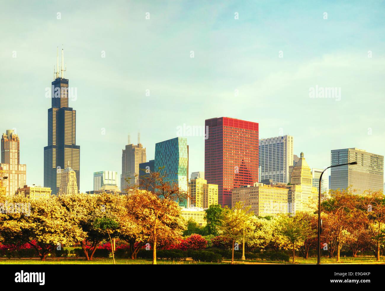 Le centre-ville de Chicago, IL le matin Photo Stock