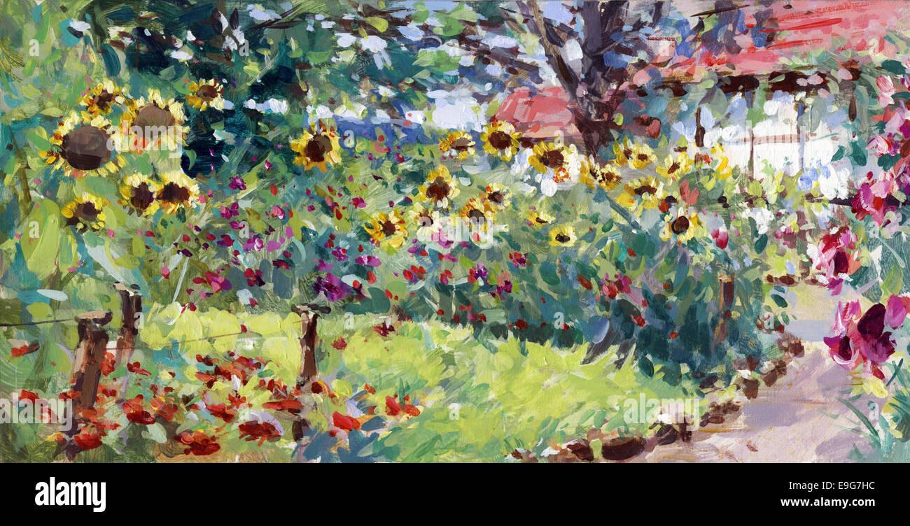 La peinture de paysage d'été Photo Stock