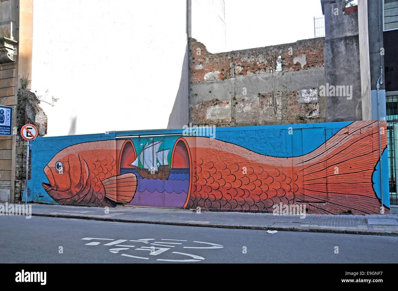 Scène de rue,mur peint Montevideo Uruguay Photo Stock