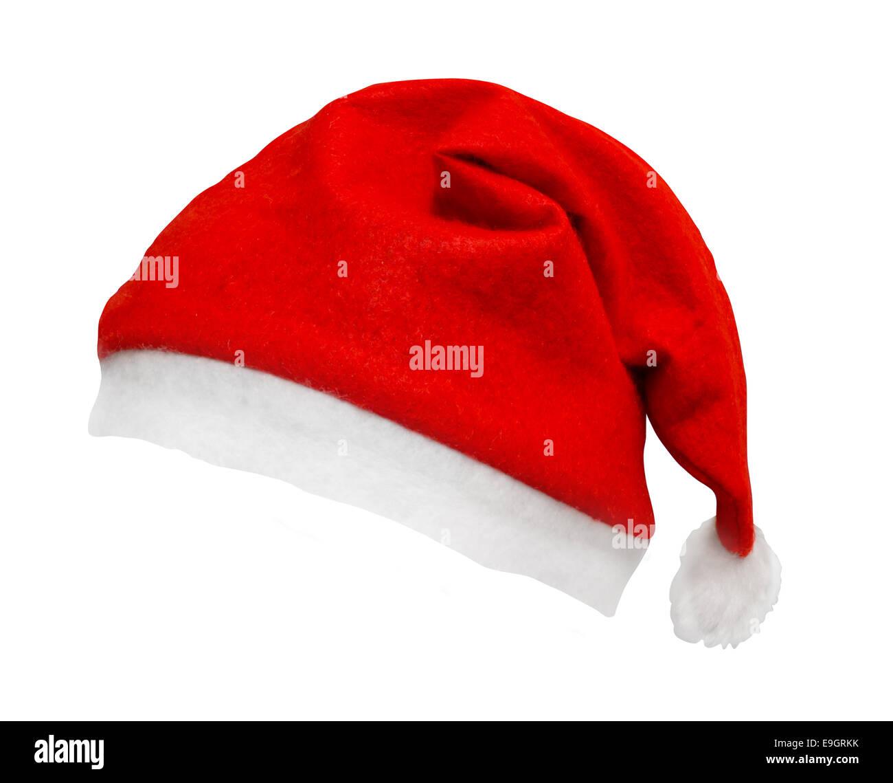 Santa hat Noël isolé sur un fond blanc et incliné sur un angle un grand élément de lisser les bords pour easy select Banque D'Images
