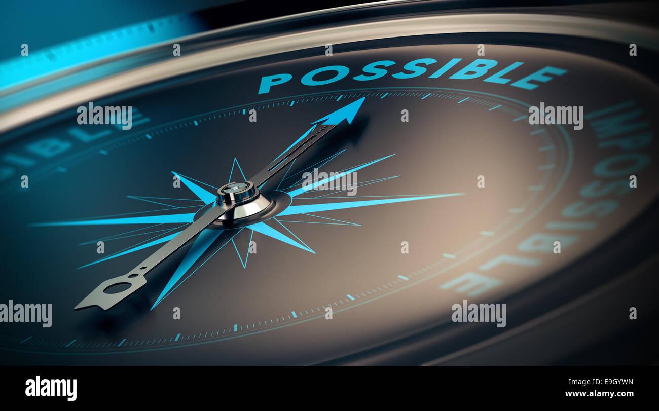 Concept de motivation, la réalisation des objectifs grâce à la confiance. boussole pointant vers Photo Stock