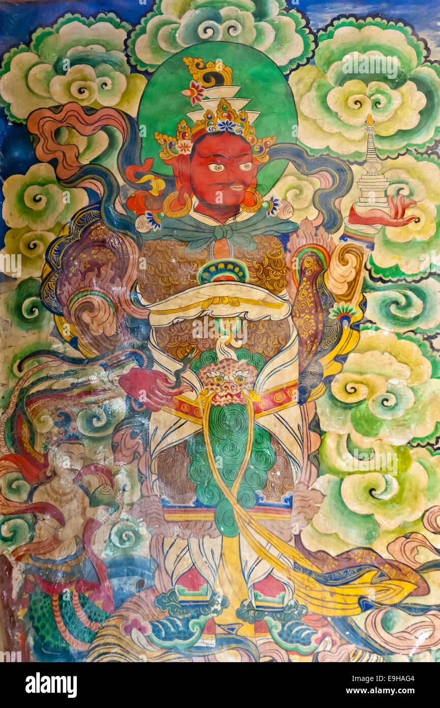 Peinture murale à l'entrée de l'Tashi Choling Gompa, le bouddhisme tibétain, Gieling, Upper Mustang, Lo, Népal Banque D'Images