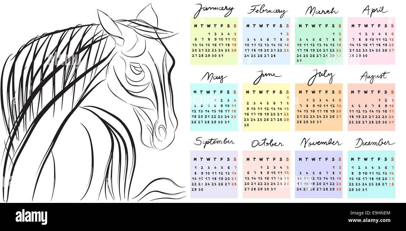 Calendrier 2014 année du cheval Photo Stock
