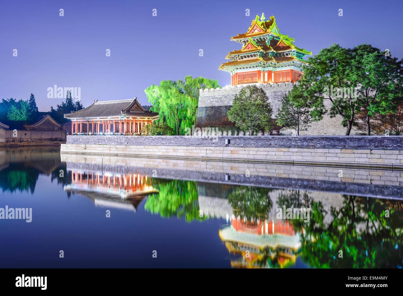 Douves extérieures de la Cité Interdite à Beijing, Chine la nuit. Photo Stock