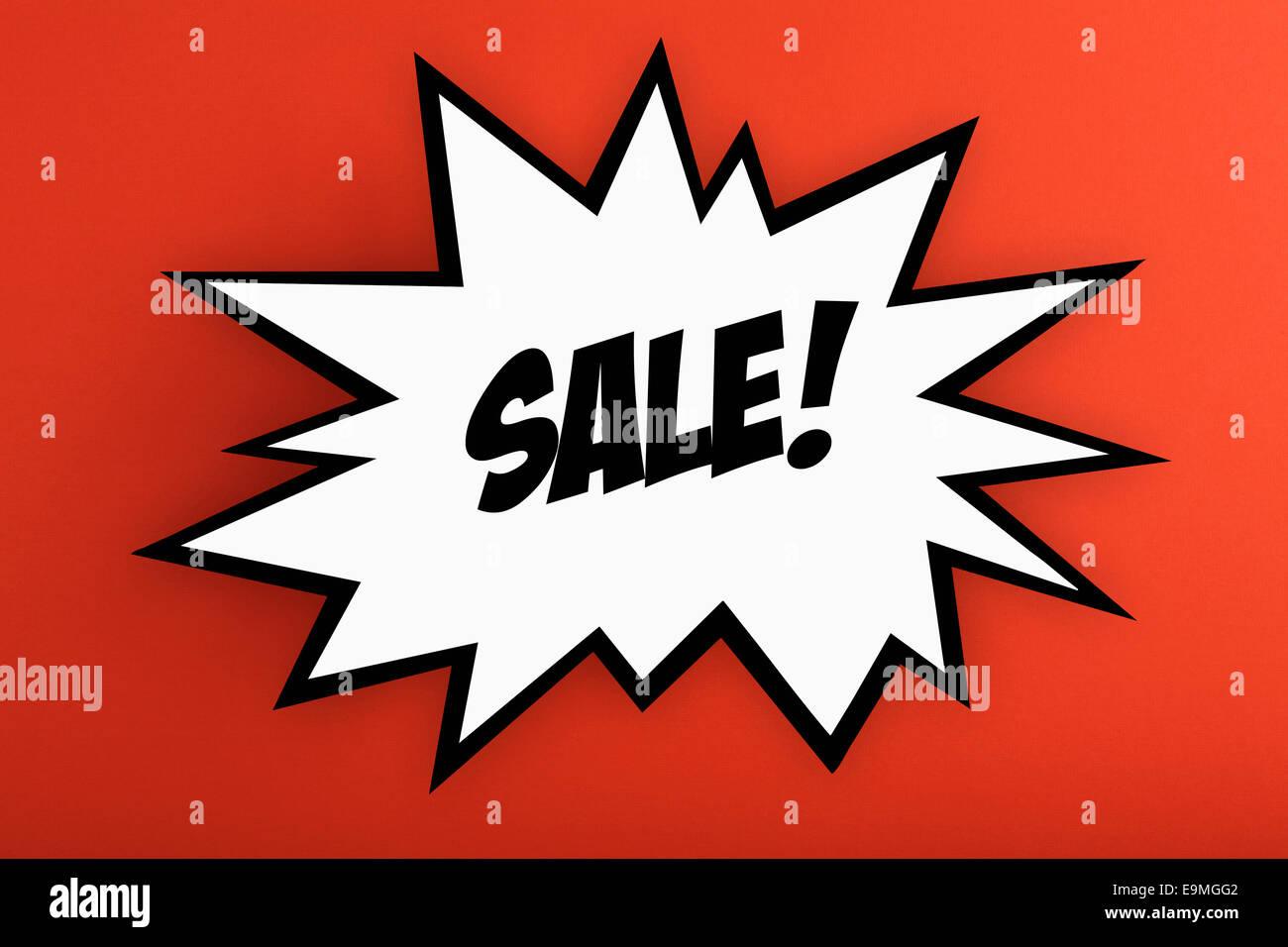 Explosion d'une enseigne commerciale avec la vente contre fond orange Photo Stock