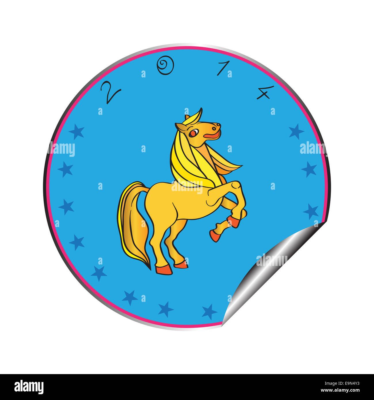 Année du cheval sticker Photo Stock